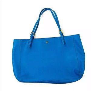 Tory Burch Blue York Large Buckle Tote Handbag